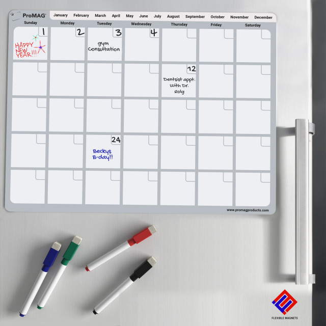 ProMAG 8.5 x 11 Inches Monthly Dry Erase Magnetic Calendar